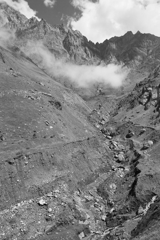 Gorge, mountains near Stepantsminda in Georgia (Georgian: სტეფანწმინდა; formerly Kazbegi, ყაზბეგი). Stepantsiminda is known for its scenic location in the Greater Caucasus mountains.